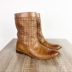 Frye Shirley Stud Huarach Boot Brown Leather Woven